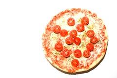 Copyspace dos queijos da pizza quatro no fundo branco Foto de Stock Royalty Free