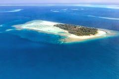 Copyspace Embudu de panorama de mer de paradis de vacances d'île des Maldives Image stock