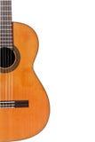 Copyspace et moitié de corps en bois de guitare Photographie stock