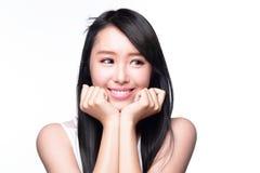 Copyspace feliz bonito do olhar da mulher Imagem de Stock Royalty Free