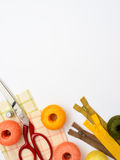 Copyspace frame with sewing tools and accesories Royalty Free Stock Images