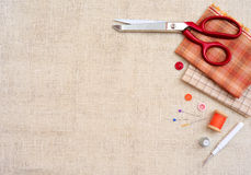 Copyspace frame with sewing tools and accesories Royalty Free Stock Image