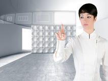 Copyspace futurista do dedo do toque da mulher Fotos de Stock