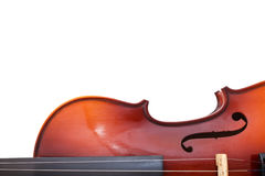 Copyspace and half of classical wooden violin Stock Photography