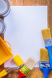 Copyspace image painting tools on white sheet of Stock Image
