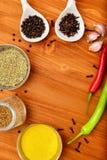 Copyspace-Lebensmittelrahmen mit Gewürzen und kochen Zubehör Lizenzfreie Stockbilder