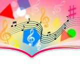 Copyspace observa la hoja y la melodía de música de los medios Imágenes de archivo libres de regalías