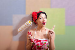 Copyspace picture of  amazing pinup lady holding Royalty Free Stock Photo