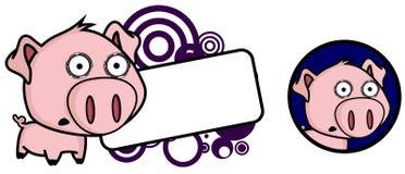 Copyspace principal grande da expressão do porco pequeno do medo ilustração do vetor