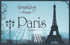 Copyspace Retro stilaffisch med Paris bakgrund Royaltyfria Bilder