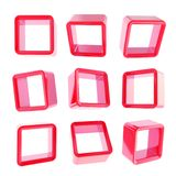 Copyspace sześcianu kwadrata szelfowi pudełka odizolowywający Fotografia Royalty Free