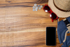 Copyspace travel concept on wooden background. Royalty Free Stock Image
