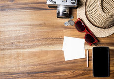 Copyspace travel concept on wooden background. Royalty Free Stock Photo