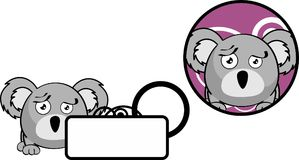 Copyspace triste sticker1 d'expression de bande dessinée de koala de boule Photo stock