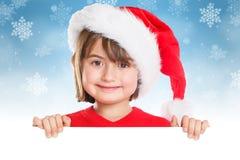 Copyspace vide de bannière de Santa Claus de fille d'enfant d'enfant de Noël photographie stock