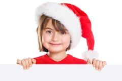 Copyspace vide de bannière de Santa Claus de Noël de fille d'enfant d'enfant image libre de droits
