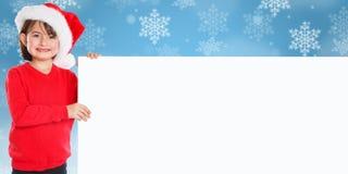 Copyspace vide de bannière de Santa Claus de Noël de fille d'enfant d'enfant photo stock