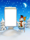Copyspaced citylight and snowman. Enter your message on a citylight Royalty Free Stock Image