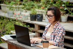 Copywriter. Asian young copywriter working on computer outdoors Royalty Free Stock Photos
