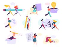 Copywriter concept set. Idea of writing texts, creativity. And promotion. Making valuable content and working as freelancer. Vector illustration in cartoon royalty free illustration