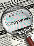 Copywriter Job Vacancy. 3D. Magnifying Glass Over Newspaper with Small Advertising of Copywriter. Illustration of Jobs of Copywriter in Newspaper with Royalty Free Stock Photo