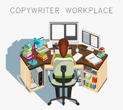 Copywriter workplace. Writer at work. Journalistic activity. Vector Stock Photos