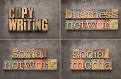 Copywriting、网络连接和社会媒体 库存图片