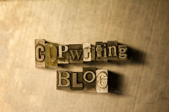 Copywriting blog - letterpress text sign Royalty Free Stock Photo