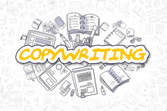 Copywriting - Doodle Yellow Inscription. Business Concept. Royalty Free Stock Image