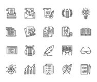Copywriting flat line icons set. Writer typing text, social media content, e-mail newsletter, creative idea, typewriter. Vector illustrations. Writing thin vector illustration