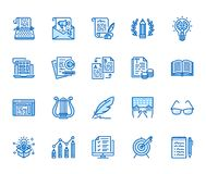 Copywriting flat line icons set. Writer typing text, social media content, e-mail newsletter, creative idea, typewriter. Vector illustrations. Writing thin royalty free illustration