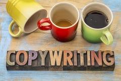 Copywriting-Konzept in der hölzernen Art Stockfotografie