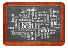 Copywriting power words -word cloud Royalty Free Stock Images