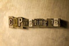 Copywriting 101 - tecken för metallboktryckbokstäver arkivfoton