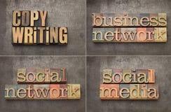Copywriting, voorzien van een netwerk en sociale media Stock Afbeelding