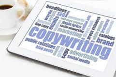 Copywriting word cloud on digital tablet Stock Photos