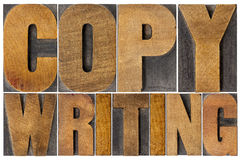 Copywriting word in wood type Royalty Free Stock Photo