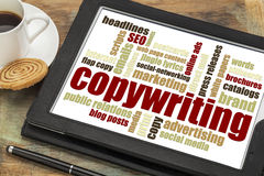 Copywriting-Wortwolke auf Tablette Lizenzfreie Stockfotos