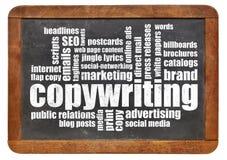 Copywriting-Wortwolke auf Tafel Stockfoto