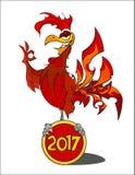 Coq ardent rouge Le symbole de la nouvelle année chinoise 2017 Image stock