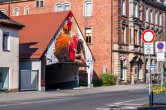 Coq - art allemand de rue - Bayreuth Photo stock