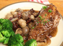 Coq Au Vin Chicken Breast Dinner Stock Image