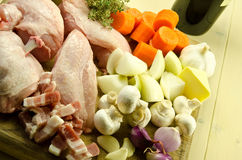 Coq au vin ingredients. Fresh, raw ingredients to make a classic coq au vin Stock Photography