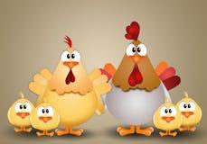 Coq avec la poule et les poussins Photographie stock