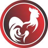 Coq courant de logo cultivant sur le cercle Photographie stock