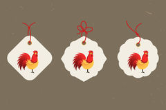 Coq décoratif Symbole chinois de nouvelle année de 2017 nouvelles années ensemble de référence des étiquettes Bon pour la carte d Image libre de droits