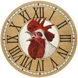 Coq dans le cadran de montre Images libres de droits