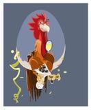 Coq de bande dessinée sur le fond Photos libres de droits