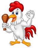 Coq de bande dessinée tenant le poulet frit et donnant le signe CORRECT illustration de vecteur