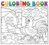 Coq de livre de coloriage près de ferme